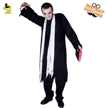 Halloween Male Black Zombie Costume Masquerade Zombie Clothing Dress Scary Disgusting Zombie With Black Robe For Adult Men Cloth(China)