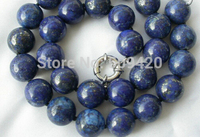 FREE SHIPPING>>@> W&O655 >stunning big 14mm round crude blue lapis lazuli necklace NEW JEWE