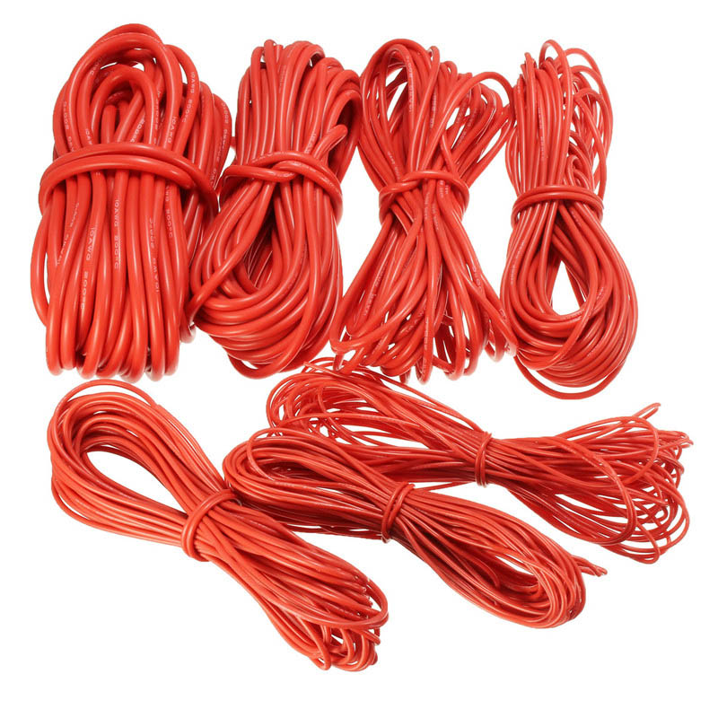 Hot Sale10 Meter Red <font><b>Silicone</b></font> Wire Cable 10/<font><b>12</b></font>/14/16/18/20/22AWG Flexible Cable Braided Cable image