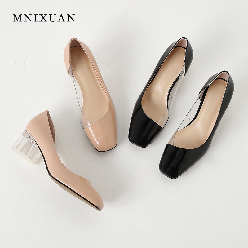 MNIXUAN Office ladies women shoes pumps high heels transparent patent leather square toe block heels slip