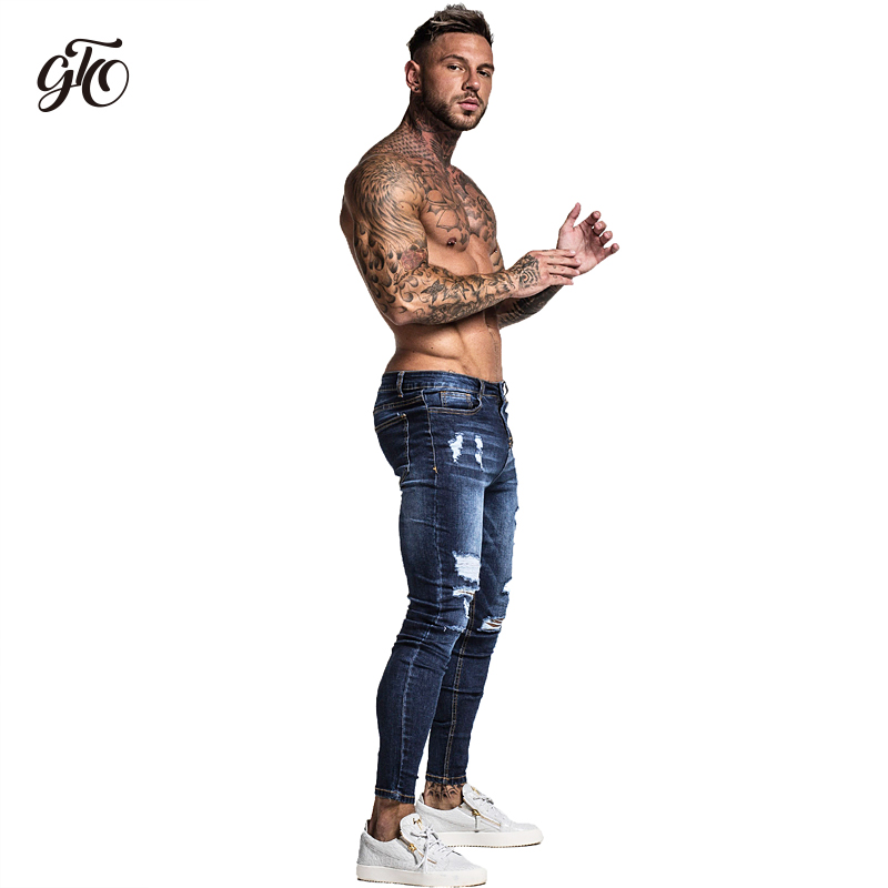 Gingtto Men 39 s Skinny Stretch Repaired Jeans Dark Blue Hip Hop Distressed Super Skinny Slim Fit Cotton Comfortable Big Size zm34 in Jeans from Men 39 s Clothing
