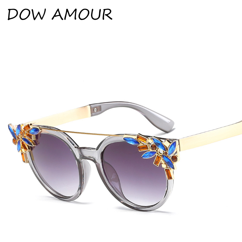 DOW AMOUR Cat Eye Ladies Sunglasses Mirror Flat Women Flower Sunglasses Classic Brand Designer Gorgeous Sun Glasses for Women