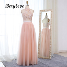 BeryLove Pink Zwei Stücke Prom Kleider 2018 Lange Halfter 2 Stück Abendkleider Lace Graduation Kleider Besondere Anlässe Dress