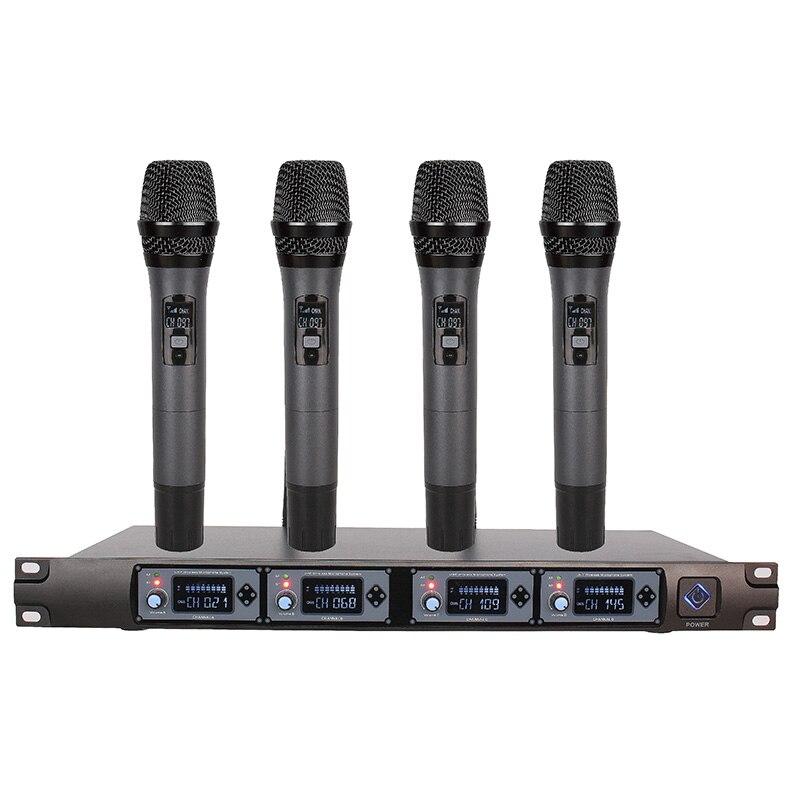 wireless microphone system u4000f professional microphone 4 channel uhf dynamic professional 4. Black Bedroom Furniture Sets. Home Design Ideas
