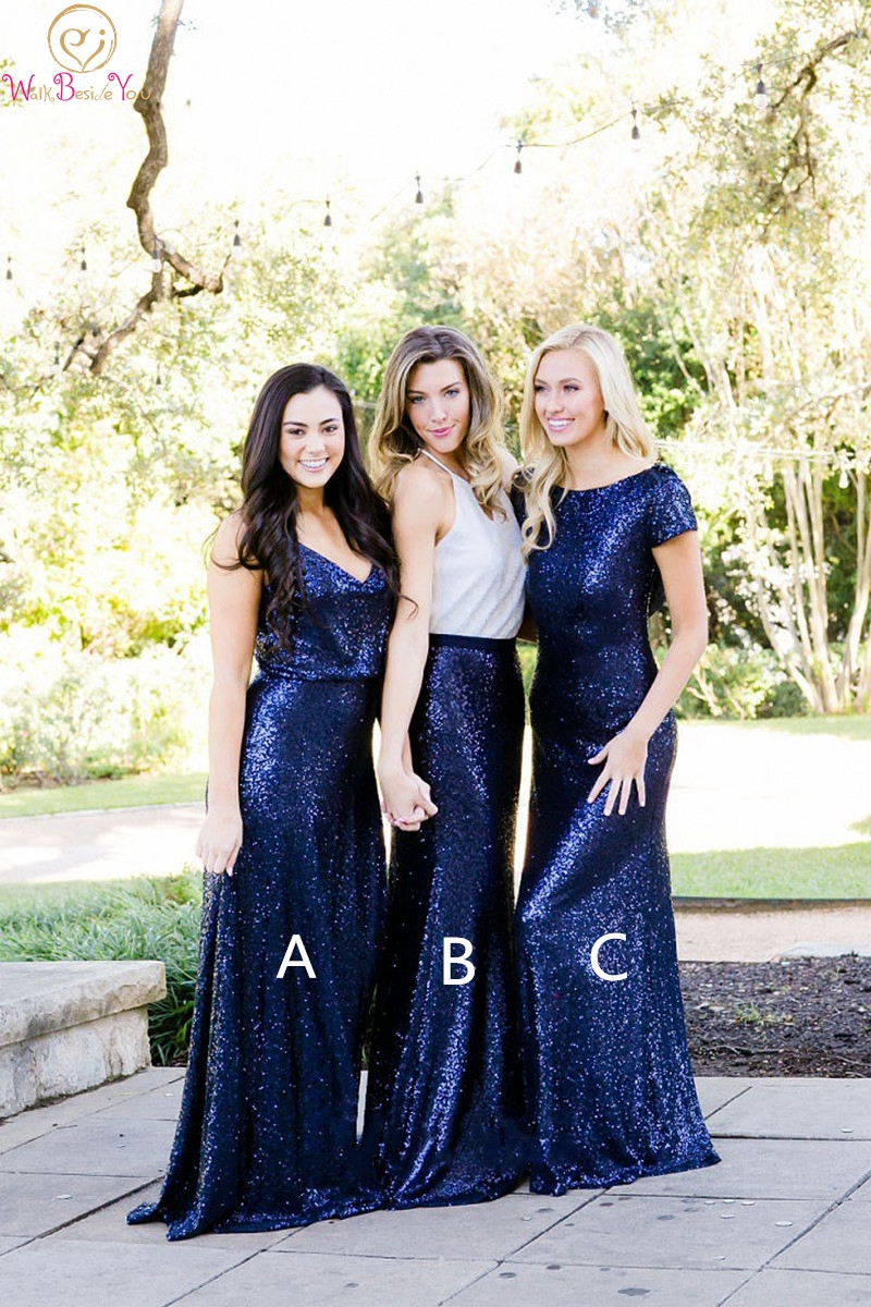 Sequined Navy Blue Bridesmaid Dresses 2019 Mermaid Floor Length Long Wedding Party Gowns Elegant Formal Bridesmaid Prom Dress
