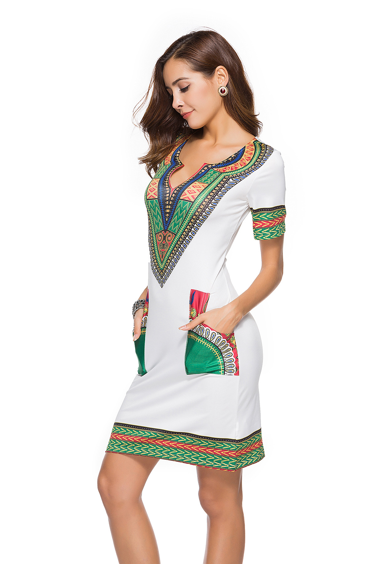 Bohemian Dress Girl V Neck Short Sleeve Pocket Mini Dresses Plus Size  Casual Beach Women Special Smooth Summer Fashion White Dresses For Party  Long ...