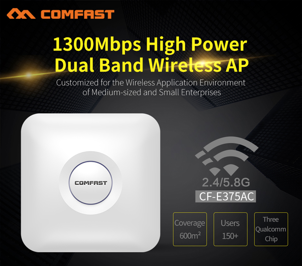 все цены на Comfast CF-E375AC 5.8Ghz 1300Mbps High Power Gigabit Dual Band Wireless AP Wifi Router Wi-fi Access Point Signal booster Router
