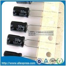 50 шт новинка 100 мкФ 50В алюминиевый электролитический конденсатор 50В 100 мкФ Размер 8*12 мм 50В/100 мкФ электролитический конденсатор