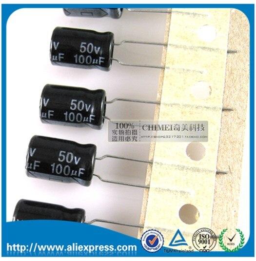 50ピース新100 uf 50ボルトアルミ電解コンデンサ50ボルト100 ufサイズ8*12ミリメートル50ボルト/100 uf電解コンデンサ