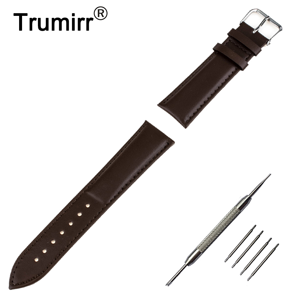 18mm 20mm 22mm Genuine Leather Watch Band for Seiko Watchband Stainless Steel Pin Buckle Strap Wrist Bracelet Black Brown black 20mm band width rubber wrist watch band strap stainless steel pin buckle 2 spring bars