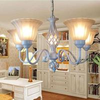 Mediterranean Style white Iron Chandelier for Dining Room Bedroom Foyer porch Led glass Chandelier indoor home & Garden Lighting