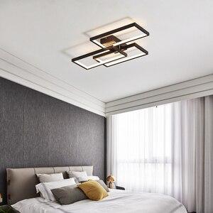 Image 4 - NEO Gleam Rectangle Black/White Color Modern Led Chandelier for living room bedroom 110V 220V deco Dimmable Ceiling Chandelier