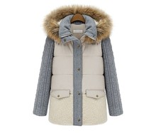 2015 new autumn and winter in Europe and America spell color long feather padded cotton jacket
