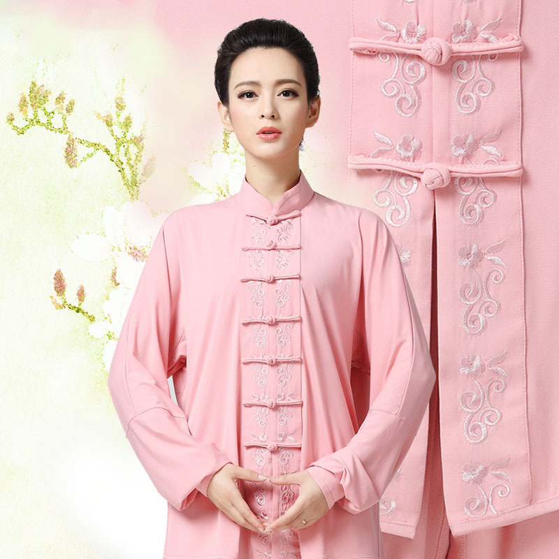 2016 New  Embroidery Long Sleeved  Ladies Tai Chi Clothing Kung Fu Performance Clothing Wushu Clothing Martial Art Uniforms