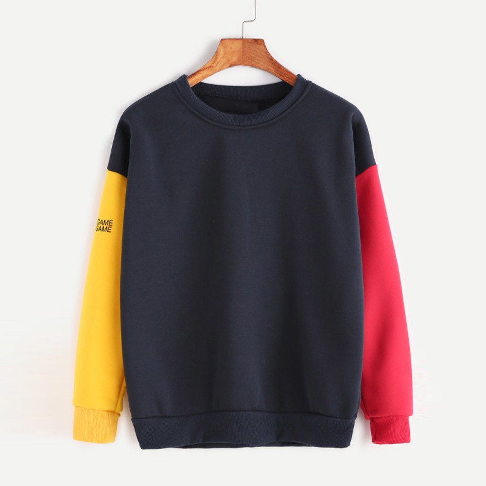 Bloco da Cor do outono 2018 Harajuku Camisola Hoodies Mulheres Streetwear Hoodie Kpop Estilo Coreano Mulher Roupas Moletom