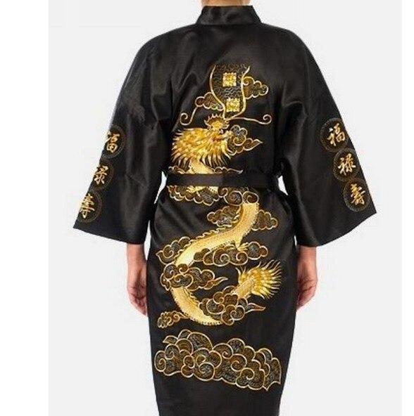 New Black Chinese Men Silk Satin Robe Embroidery Dragon Bathrobe Nightwear Vintage Kimono Gown Size S M L XL XXL XXXL S0009