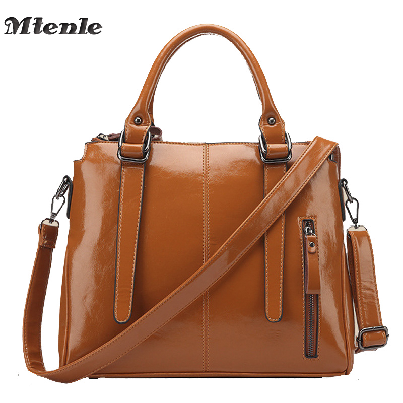 ФОТО MTENLE Women Artificial Leather Handbags Designer Tote Bags High Quality Lady's Oil WaxPU Leather Crossbody Bag Black and Tan F