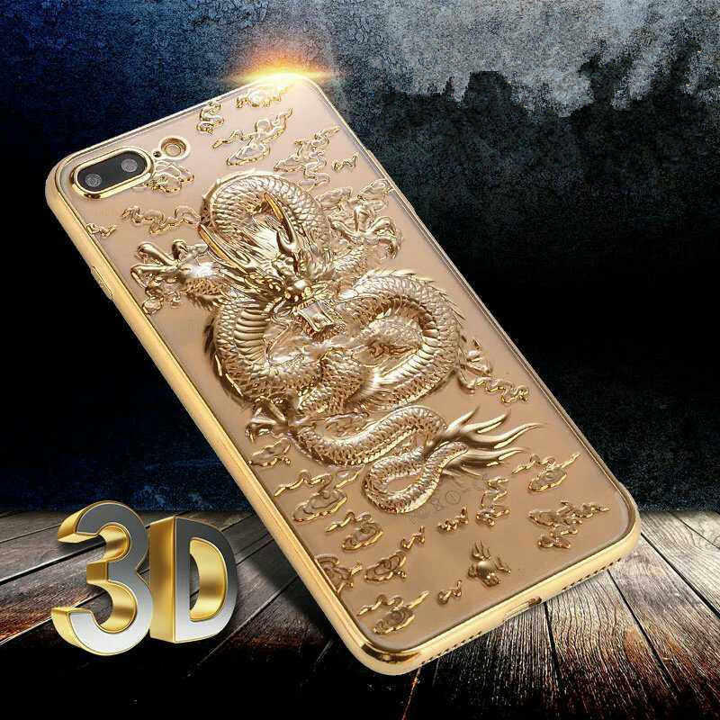 For iPhone 7 Case Luxury 3D Dragon Pattern Electroplating TPU Soft Case for iPhone 6 6s 7 8 Plus Case Shockproof Back Cover Capa