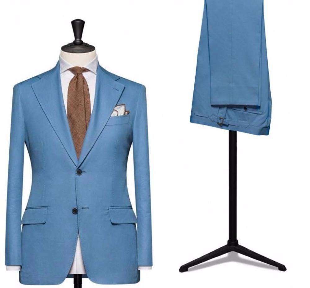 New Bespoke Blue Men's Tuxedos Wedding Groom Best Man Party Suits Jacket Pants C74