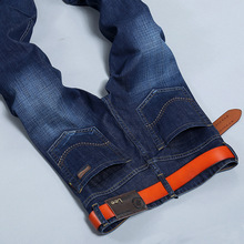Lgnace LEE spring summer new men's jeans casual washing blue Slim small micro elastic cylinder on behalf of Large size