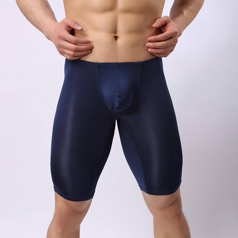 Fashion 2017 Man Sexy Nylon Sheer Pajama Pants Bottoms/Gay Ice Silk Pouch Transparent Lounge Leggings/See Through Tights