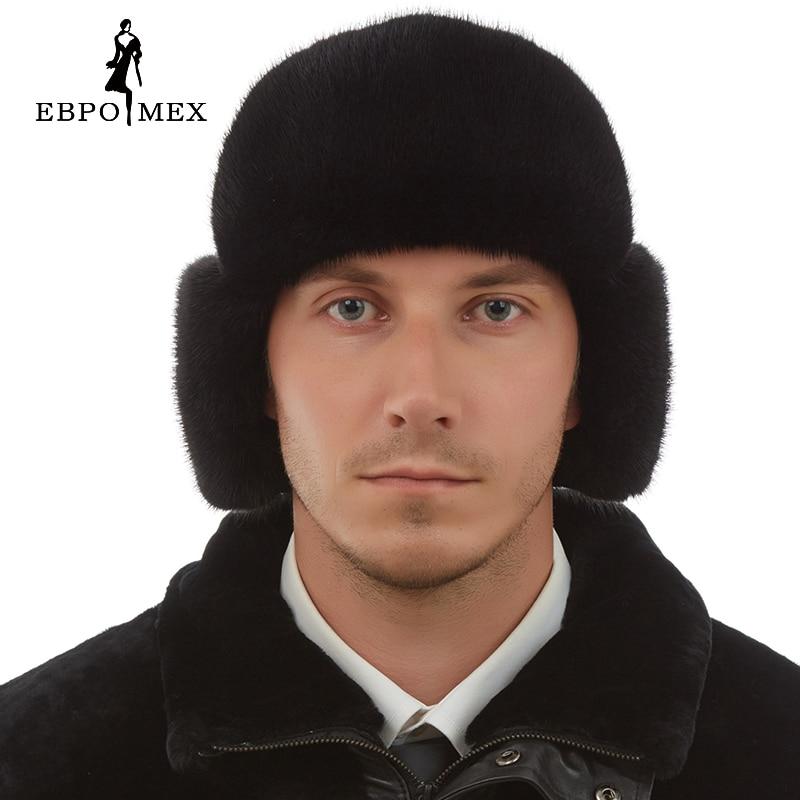 Fashion mink fur hats Genuine Leather fur hats for women Warm winter Black fur hats for men russian fur hat cx c 12a genunie mink fur ladies fashion hats drop shipping