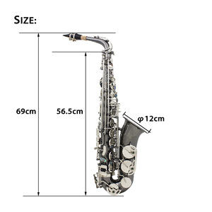 Image 3 - Professional Brass Bend Eb E flat Alto Saxophone Sax Black Nickel Plating Abalone Shell Keys with Carrying Case