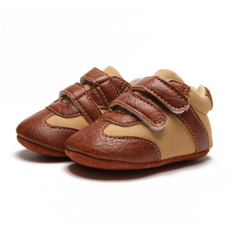 Nouveau-né bébé garçons chaussures pour bébés premiers marcheurs pour nouveau-né enfants Pu respirant semelle souple antidérapant berceau espadrilles décontractées 0-18 M