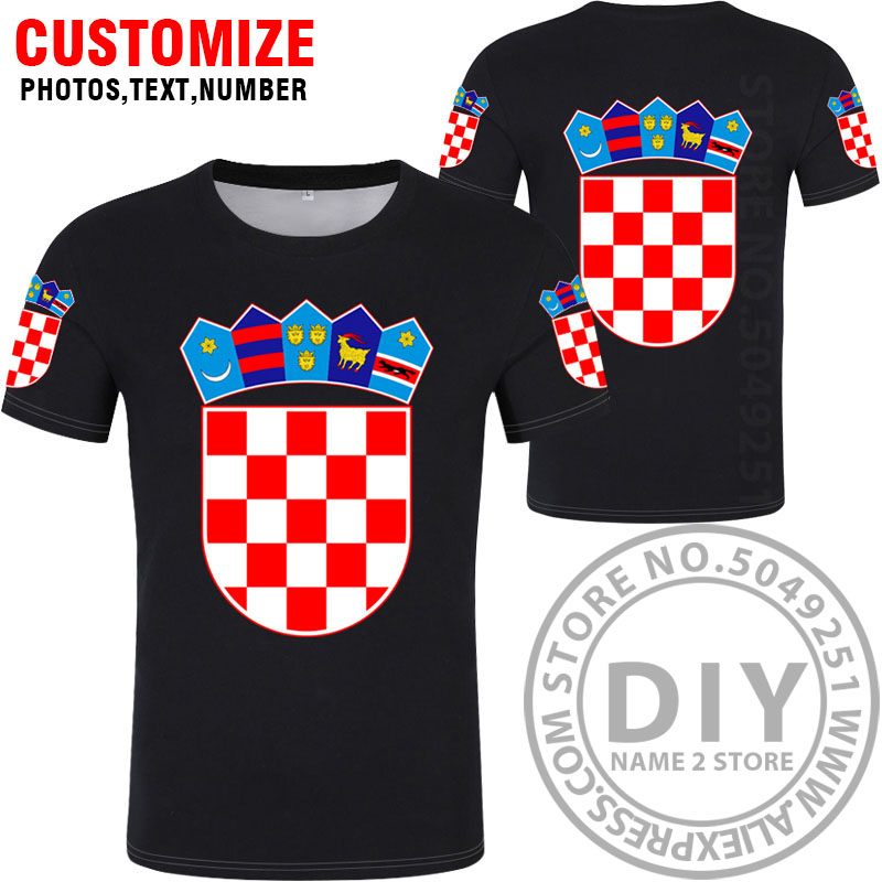 Image 4 - CROATIA t shirt diy free custom name number hrv t shirt nation flag croatian country hrvatska republic print photo logo clothing-in T-Shirts from Men's Clothing