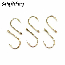 Minfishing 500 PCS/box Gold Fishing Hooks with hole High Carbon Steel Fishhook Mixed Size 3-12# Sea Carp Fishing Hook