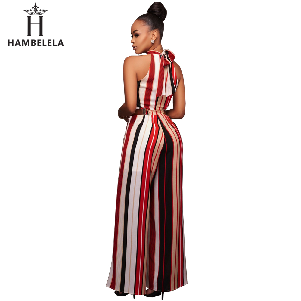 71016a4e098 Hambelela Hot Sale Red Yellow Elegant Women Summer Sleeveless Long Jumpsuit  Stripe Maxi Romper One Piece Sexy Long Pant Jumpsuit