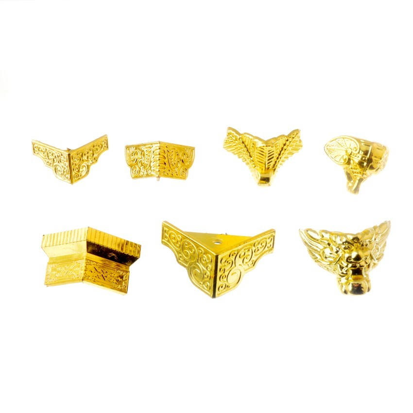 Free Shipping 4Pcs Gold Tone Jewelry Gift Box Wood Case Decorative Acrylic Feet Leg Corner Protector