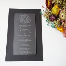 Customized 100*180mm laser engraved letters frosted acrylic wedding invitation card (1lot=100pcs)
