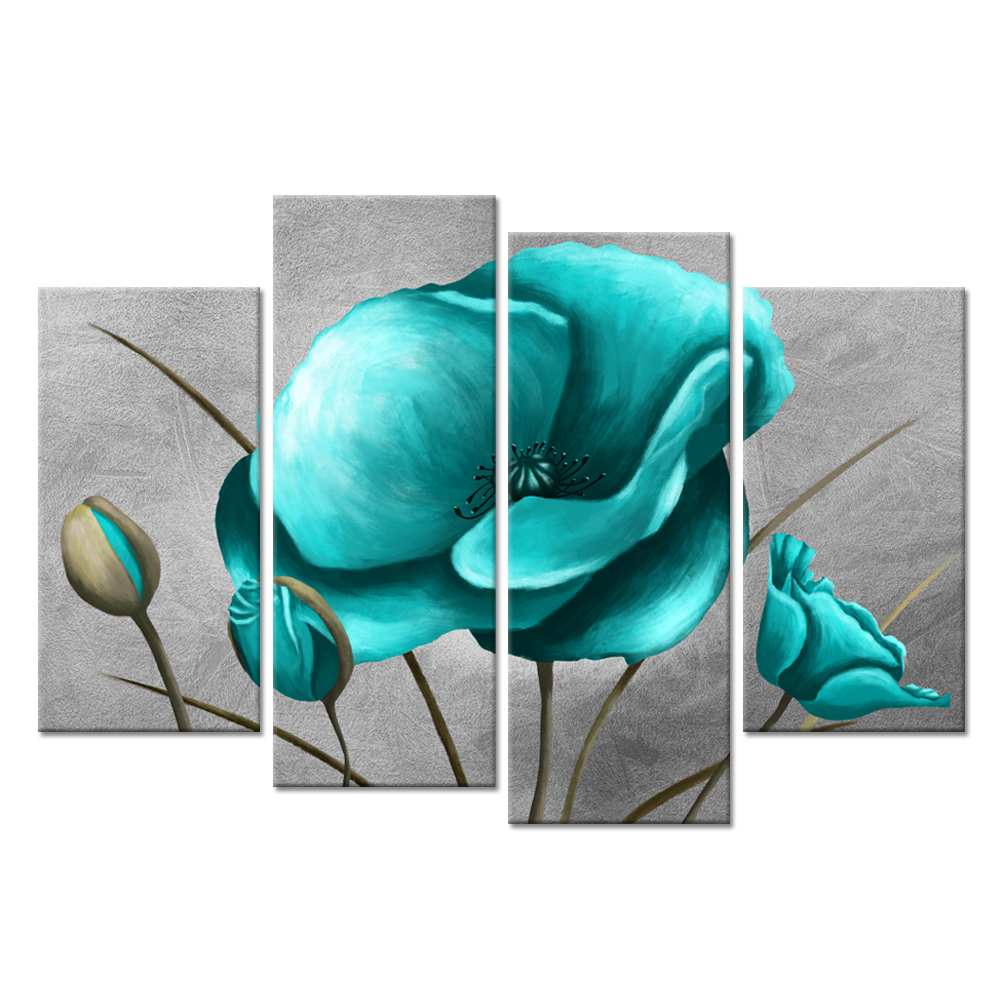 4 Panel Flower Wall Art Canvas Print Teal Blue Poppy Still Life Floral Painting on Grey Background For Modern Home Decoration