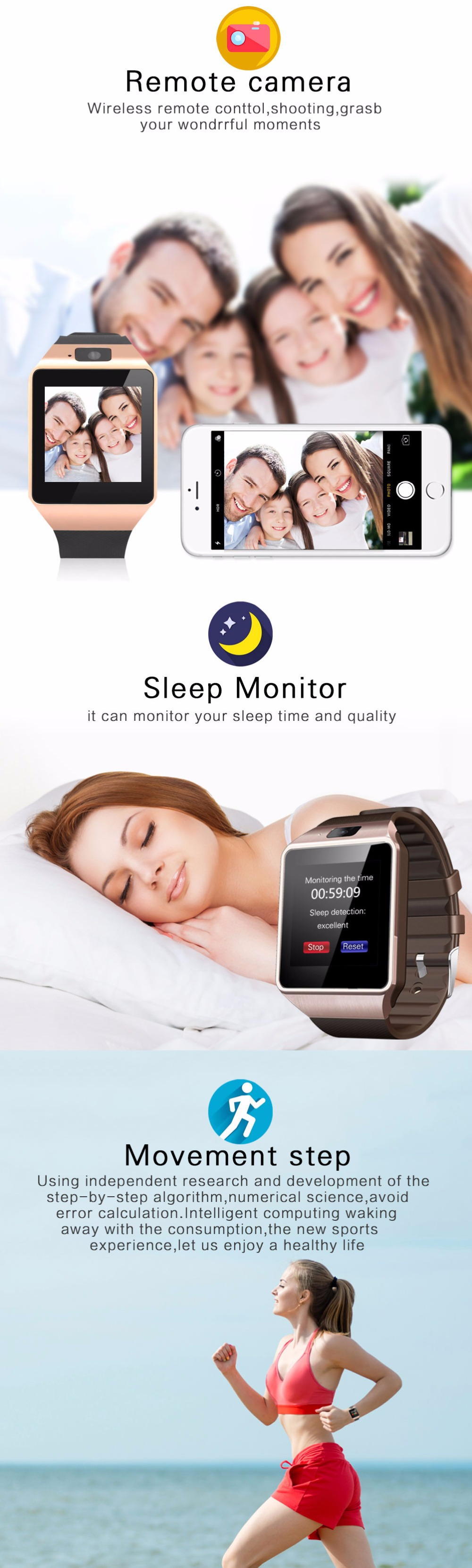 Cawono Bluetooth Montre Smart Watch Support SIM Caméra pour IOS & Android