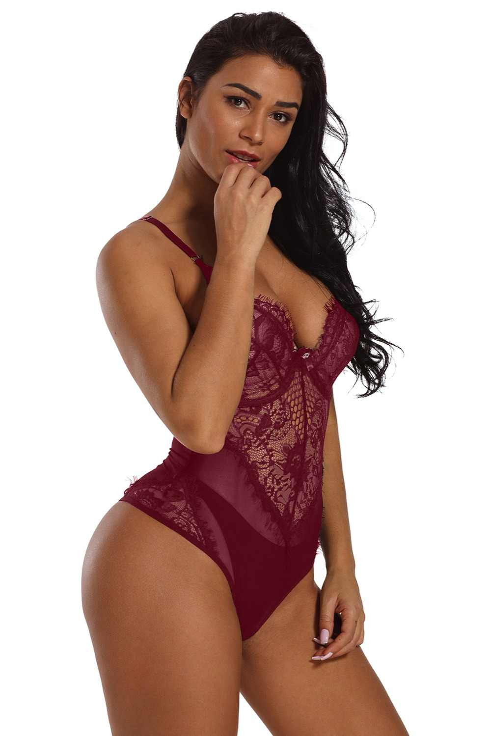 66fc39aaa08 ... Sexy Erotic Lingerie Costumes Plus Size Women s Black Sheer Mesh Lace  Cupped Teddy Lingerie Sleepwear Underwears ...