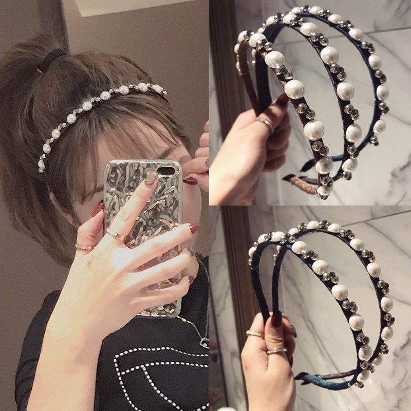 Girl's Hair Accessories Korea Bead Pearl Yarn Middle Knotted Hairbands Solid Hair Accessories Hairband Crown Headbands For Girls Hair Bows Apparel Accessories