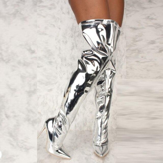 النساء الأحذية مرآة منصة مدبب تو الشرير عالية رقيقة الكعوب فوق الركبة أحذية طويلة الخريف الشتاء البريدي الفضة أحذية الحفلات غير رسمية