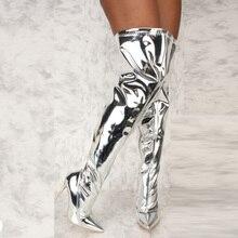 Bottes à semelle miroir pour femmes, chaussures Punk à bout pointu à talons hauts et fins, longues, chaussures de soirée avec fermeture éclair, automne et hiver, argent, décontracté