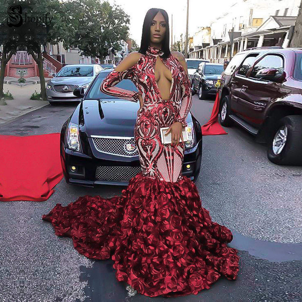 Long Elegant   Prom     Dresses   2019 Sexy Mermaid High Neck Long Sleeve Sparkly Sequin Flower African Ladies Burgundy   Prom     Dress