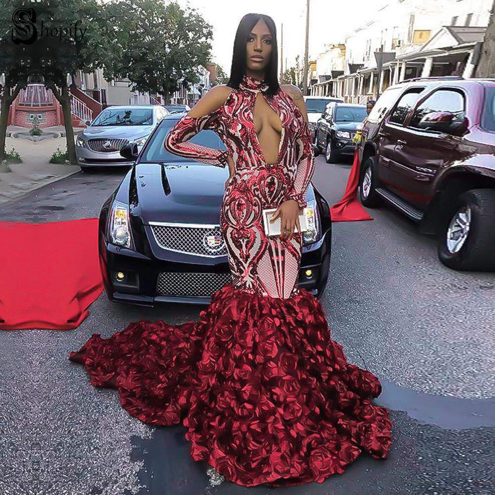 Long Elegant   Prom     Dresses   2019 Sexy Mermaid High Neck Long Sleeve Sparkly Sequin Flower African Ladies Burgundy   Prom     Dress