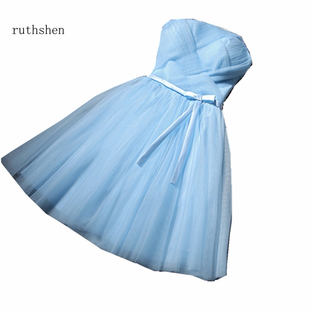 ruthshen Sky Blue   Bridesmaid     Dresses   Short Strapless Pleats Ruffle Party   Dresses   Wedding Guest   Dress   Vestido Madrinha 2018