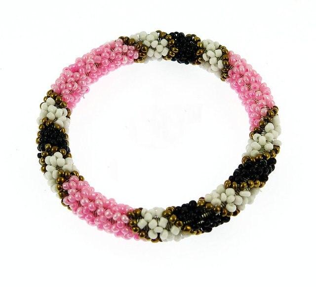 Nepal Handmade Bead Bracelet Hippy Friendship Por Roll Crochet Woven Seed Beads Pink Love Pattern Bracelets
