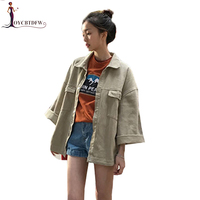 Women Spring Denim Jacket 2018 New Loose Casual Big Pocket Denim Jacket Female Long sleeves wild Solid Overalls for Women NO214
