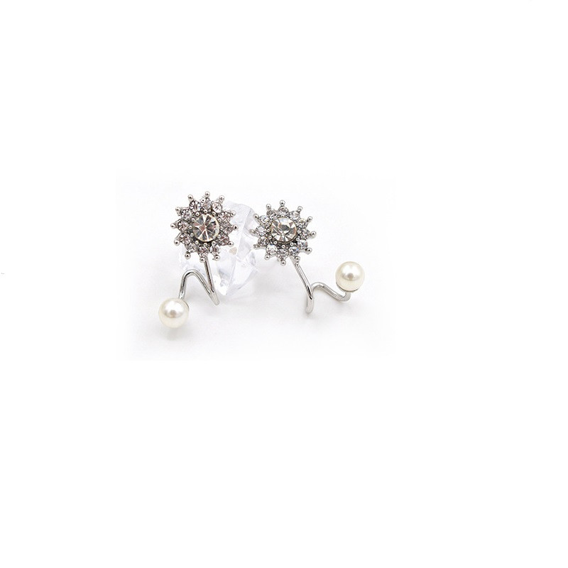 H:HYDE Elegant Fancy Full Crystal Snow Flower Shape Sweey Imitation Pearl Stud Earrings Special Ear Jewelry Gifts For Girlfrieds