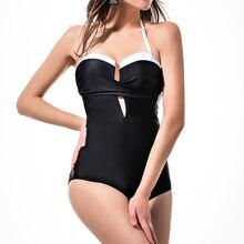 Купить с кэшбэком sexy ruffle bodysuit one piece swimsuit women 2018 push up balck plus size swimming suit for feminino monokini bathing suit