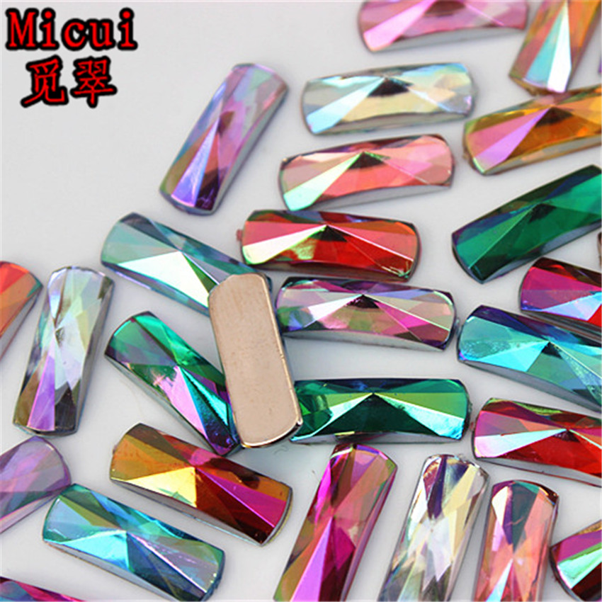 Micui 100PCS 6 16mm Acrylic Rhinestone Rectangle Acrylic Flatback Gems  Strass Crystal Stones For Dress Crafts Decorations MC755 46e0a8ac1ff2