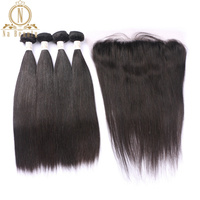 Brazilian Straight Human Hair 4 Bundles Remy Hair With 13*4 Lace Frontal Wefts Closure Front Free Part Bundles Deal Black Color