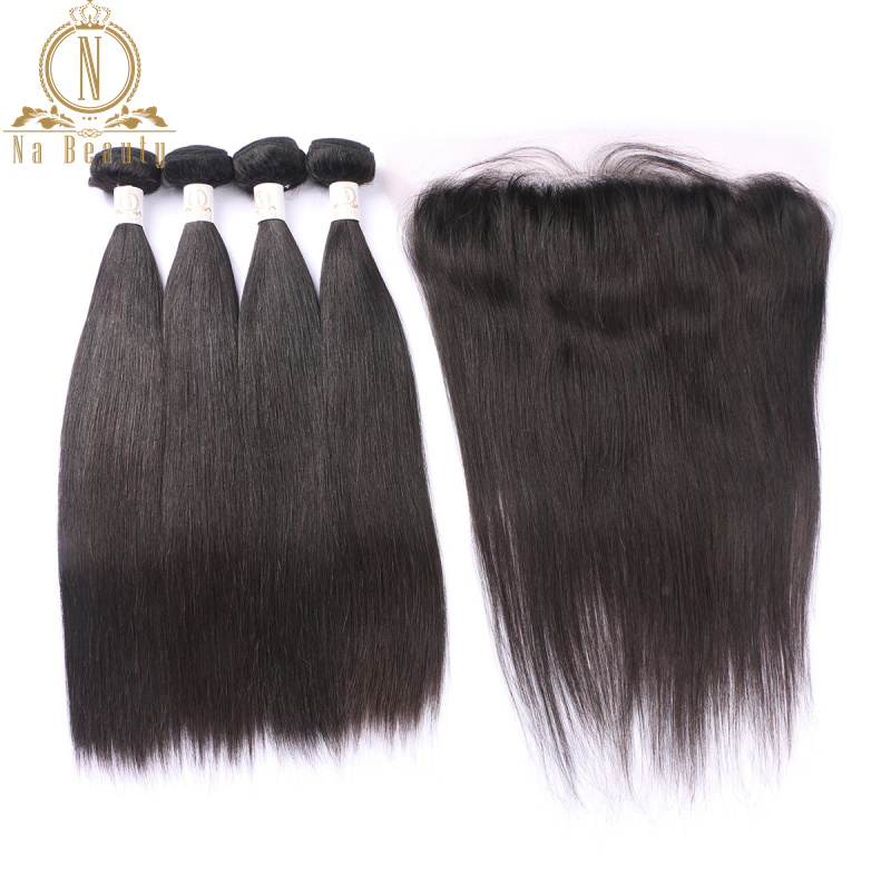Brazilian Straight Human Hair 4 Bundles Remy Hair With 13*4 Lace Frontal Wefts Closure Front Free Part Bundles Deal Black Woman