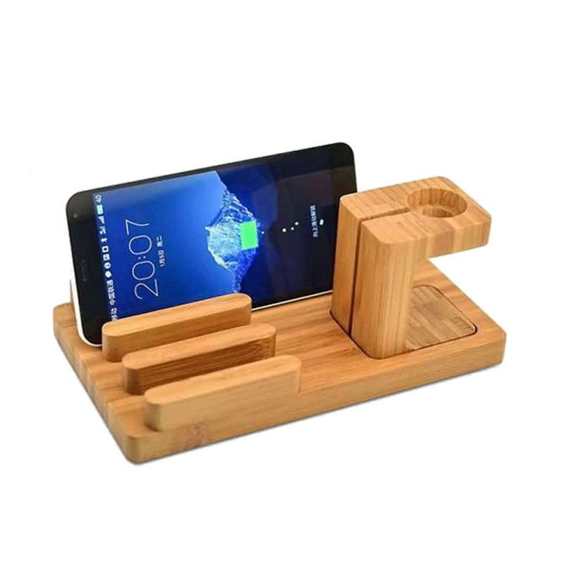 Multifunctional Bamboo USB Charging Dock/Holder for Apple Watch iPhone iPad 29